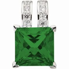 Platinum Princess Cut Chatham Created Emerald and Diamond Pendant Gems-is-Me. $1840.74. FREE PRIORITY SHIPPING. This item will be gift wrapped in a beautiful gift bag. In addition, a 'gift message' can be added.. Save 40% Off!