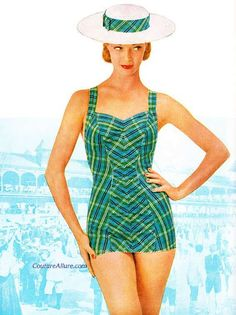 I love the blue and green plaid and the cut of the vintage swim!