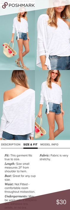Free People Easy Breezy Top Take a stroll with the Free People White Long Sleeve Top for an easy, breezy look! Soft and stretchy burnout knit shapes a draping, bateau neckline framed by long, dolman sleeves. Wide, cropped, bodice with a tying, asymmetrical hem with raw, back-stitched seams throughout. Unlined. 65% Polyester, 26% Cotton, 9% Rayon. Machine Wash Cold. Imported. Free People Tops