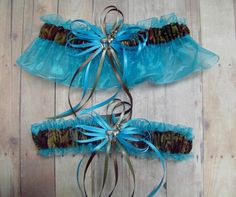 Deer Hunting Camouflage Wedding Garter Set on Turquoise by avysm, $26.99