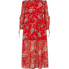 Plus collection Floral printed woven crepe Layered design  Cinched waistband Bardot neckline Long sleeve with tied cuffs Maxi length