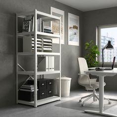 BROR Open kast, wit. Winkel vandaag - IKEA Heavy Duty Shelving, Open Shelving, White Shelves, Metal Shelves, Feminine Bedroom, Ikea Kitchen Cabinets, The Home Edit, Ikea Family, Old Room