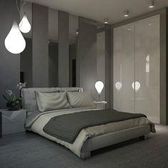 Wandgestaltung im modernen Schlafzimmer - Graue Wandfarbe und Spiegel