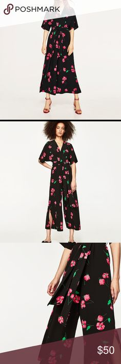 Zara jumpsuit NWOT. Floral long jumpsuit. Sash around the waist. Long thin opening in the back. Loose sleeves. Slits on the pant legs. Zara Pants Jumpsuits & Rompers