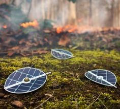 Concept drawings of solar-powered sensors designed to detect changes in the environment.