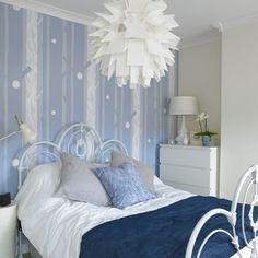 White & blue modern bedroom