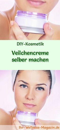 DIY-Kosmetik-Rezept: Veilchencreme selber machen - eignet sich zur Behandlung von Hautleiden #diy#selbermachen#gesichtspflege#naturkosmetik#kosmetik Dental, Natural Cosmetics, Body Art, Mirrored Sunglasses, Beauty Hacks, Wellness, Homemade, Fitness, Face