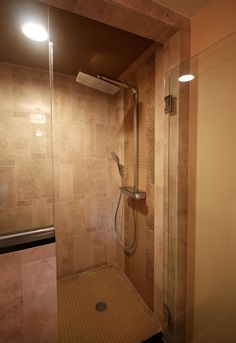 This Shower Wall Features Our Light Peach Beige Brown Bijou Glass Tile,  Framed By Parallel