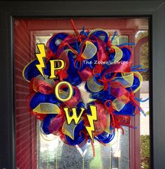Blue, Red, and Yellow Superhero Deco Mesh  Birthday Party Wreath on Etsy, $59.95