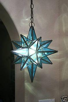 blue moravian star. pendant light fixture. for sale on ebay, user name: randybell2118. store name: Moravian star.  ***so pretty!!***