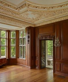 Love the warm wood and really like the ornate cream ceiling. REALLY like this. More