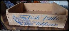 Vintage ~ Primitive ~ Wooden ~ Fruit ~ Crate ~ 3 Brothers