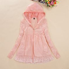 Candy-color lace transparent sunscreen hoodie coat~-FashionTheBox.Com