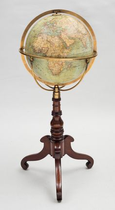 German Terrestrial Globe on stand, C. 1880.