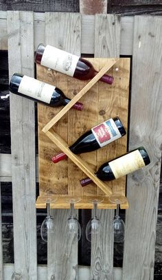 Wine Rack and Glass Holder Hand made rustic pallet wood
