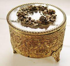 VTG MATSON Round Beveled Glass & Ornate Ormolu Casket Trinket Jewelry Box #Unbranded