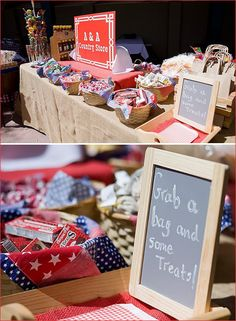 "Have a ""General Store"" Treats Table for guests at your country western cowboy party- great goody bag idea!"
