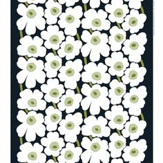 Marimekko Pieni Unikko Lime / Yellow Cotton Fabric Designed in 1964 by Maija Isola, Marimekko Unikko has remained a powerful flower through six decades. In the Pieni (little) version, the blooms are in a smaller scale, and laid in two alternating colum. Pvc Fabric, Extra Fabric, Green Fabric, Cotton Fabric, Outdoor Fabric, Marimekko Fabric, Types Of Curtains, Textiles, Rod Pocket Curtains