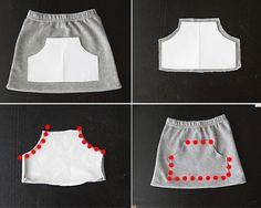 upcycle a pair of sweatpants into a cute kangaroo pocket skirt