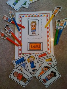 Emotion Cards with mat for matching face with word feeling