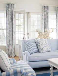 soothing blue and white cottage living room Cottage Living Rooms, Coastal Living Rooms, Cottage Interiors, Home And Living, Living Room Decor, Cottage Bedrooms, Blue Rooms, White Rooms, Blue And White Living Room