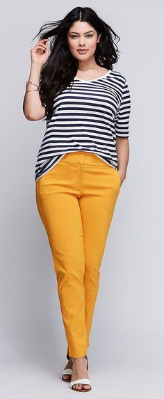 Plus Size Stretch Ankle Pants. Love the stripes with the yellow. This would be a perfect every day outfit.