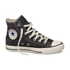 Converse - All Star Stonewashed Canvas - Hi - Jet Black (€50) ❤ liked on Polyvore featuring shoes, sneakers, converse, zapatos, black shoes, converse footwear, canvas trainers, black canvas sneakers and canvas sneakers