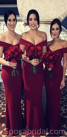 Burgundy bridesmaid dresses - Dark Red Off the Shoulder Mermaid Bridesmaid Gowns from dressydances – Burgundy bridesmaid dresses Burgundy Bridesmaid Dresses Long, Red Bridesmaids, Mermaid Bridesmaid Dresses, Mermaid Dresses, Off Shoulder Bridesmaid Dress, Burgundy Dress, White Dress, Party Gowns, Wedding Party Dresses
