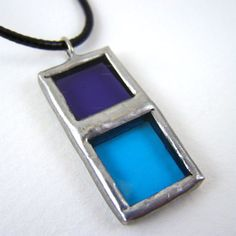 Cool Water Stained Glass Pendant with Black Cord by faerieglass,