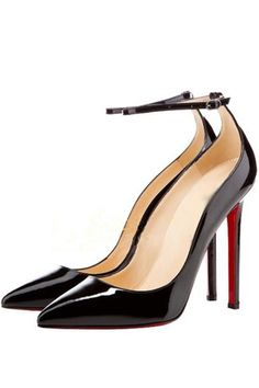 Simple and fashion style heels we are needed in this season. The features for these heels include a faux leather upper with an ankle strap and side buckle closure, pointed closed toe, smooth lining, and stiletto heel style.