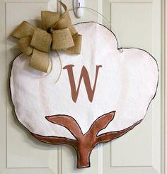 Cotton Boll Burlap Door Hanger Decoration by MustLoveArtStudio, $35.00