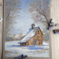 """Проснулась с четким ощущением, что сегодня 8 марта, все будут постить весенние цветы, а у меня такая зимняя картинка нарисовалась вчера вечером :) люблю я эти американские """"сарайчики"""" :) ну и да, кто помнит, то я еще и фотограф. И сегодня у кого-то третий праздничный, а у меня третий съемочный день. Я в студию! Хорошего дня! #пастель #графика #pastel #landscape #зима #winter"""