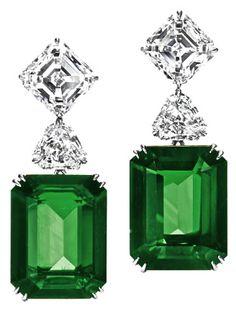 Harry Winston Emerald Ear Pendants