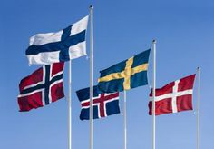 Nordic flags - Modern Nordic Countries - Sweden, Denmark, Finland, Norway, Iceland, Greenland, Faroe Islands.