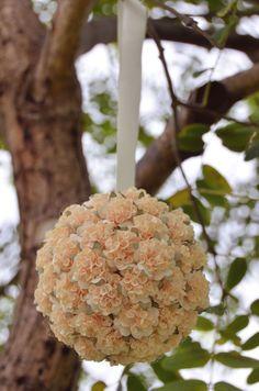 Handmade cream paper flower kissing/pomander ball, flower girl alternative