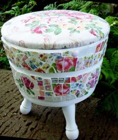Cottage Chic Pink China Roses Mosaic Tile Sewing Tub or Footstool with Barkcloth Lid