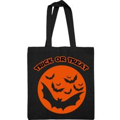 Black & Orange Trick Or Treat Bag   Trick or treat tote bag featuring bats & a jack-o-lantern. Trick Or Treat Bags, Halloween Themes, Bats, Lantern, Clutches, Reusable Tote Bags, Orange, Color, Design
