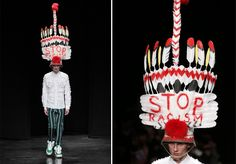 Designer Responds to Chanel Headdress With Not-So-Subtle Look During Runway Show