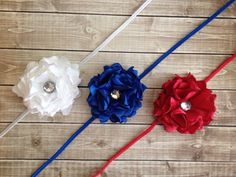 Satin Flower-Flower Girl-Satin Flower Flower Headband Set-Satin Flower Headband-Royal Blue Red White Flower Headband-Special Occasion on Etsy, $12.00