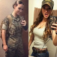 Here we share a new collection of ARMY WOMEN in and out of uniform. These are the 41 professional military women in & out of uniform looking so hot. Look Plus Size, Female Soldier, Female Marines, Army Soldier, Military Girl, Military Women, Girls Uniforms, Girls In Uniform, Badass Women