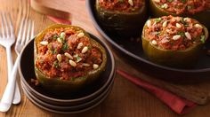 Like stuffed peppers?  Try a new one with a spicy combination of ingredients.