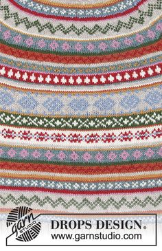 Winter Carnival / DROPS - Knitted jumper in DROPS Karisma. The piece is worked top down with round yoke, Nordic pattern and A-shape. Knitted hat in DROPS Karisma. The piece is worked with Nordic pattern and stripes. Fair Isle Knitting Patterns, Fair Isle Pattern, Knitting Charts, Knitting Stitches, Knit Patterns, Free Knitting, Drops Design, Tejido Fair Isle, Drops Karisma