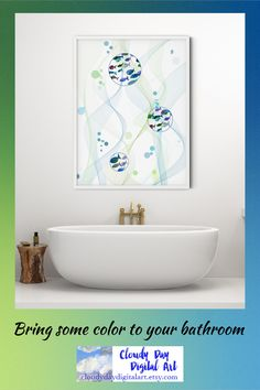 Art for the bathroom: watercolor fish swim in bubbles underwater in this beautiful printable piece Bathroom Art, Bathroom Colors, Colorful Bathroom, Colorful Abstract Art, Abstract Landscape, Watercolor Fish, Geometric Decor, Affordable Home Decor, Whimsical Art