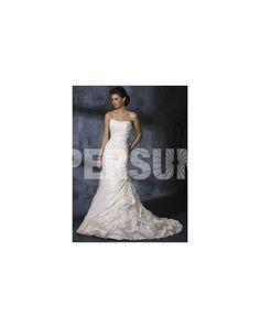 Sweetheart Ruching Beading Mermaid Taffeta Wedding Dress - PERSUN