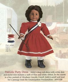 The Patriotic Party Dress (also called Addy's Patriotic Party Dress) was introduced to Addy's Collection in 1995 and retired in Z American Girl Outfits, American Girl Doll Molly, American Girls, Ag Doll Clothes, Doll Clothes Patterns, Dress Patterns, Doll Patterns, Ag Dolls, Girl Dolls