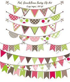 INSTANT DOWNLOAD Pink, Green & Brown Bunting Clip Art Set - printable digital clipart