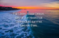 Palm trees, ocean breeze Salty air, sun kissed hair That endless summer, Take me there. I Love The Beach, Summer Of Love, Summer Fun, Summer Bucket, Summer Days, Summer Vibes, Les Miserables, English Frases, Summer Beach Quotes