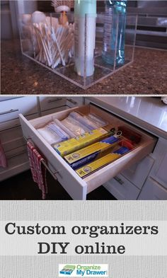 You can design your own custom organizers online and they look beautiful. Clear acrylic lets the natural colors and textures show through and really highlights your items in your drawer or on your counter.