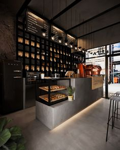 c o f f e e on Behance Bakery Interior, Coffee Shop Interior Design, Coffee Shop Design, Restaurant Interior Design, Coffee Shop Bar, Bakery Design, Cafe Design, Industrial Cafe, Industrial Coffee Shop