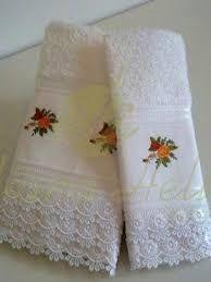Resultado de imagen para toalhas lavabo com renda guipir